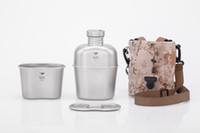 Wholesale Titanium Camp Pot - Keith Ti3060 Titanium Army Military Water Bottle Cup Pot Canteen Mess Kit set 268g 1.7L+0.7L w  Camo Bag