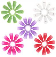 temiz klip art toptan satış-10 adet Plastik Nail Art Kapalı Islatın Kap Klip UV Jel Cila Sökücü Wrap Aracı Vernik Tırnak Temizleyici Sökücü Çıkarma için Sıvı