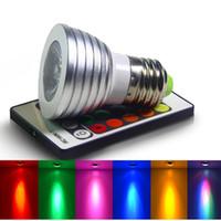 lampe 12v ac achat en gros de-E27 E14 B22 GU10 MR16 RVB a mené la lumière ampoules AC 85-265V 3W changeant les lampes menées colorées pour l'éclairage de Noël + 24 IR à télécommande