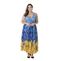 Wholesale Summer Dress Large - Dames Summer 2017 Large Size Dress Straps Sleeveless Backless Bigger Sizes Printed Chiffon Dress Fashion Women's Clothing L-7XL