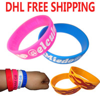 Wholesale Wholesale Wristbands For Events - Wholesale DHL free shipping 500pcs lot custom silicone wristband  bracelets debossed logo test for promotional gift or event