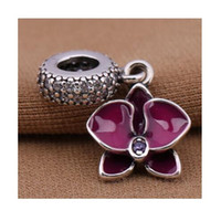 Wholesale Enamel Stamp - stamp 925 sterling silver european charm enamel dangle Orchid silve bead, Fits European Pandora Charm Bracelet