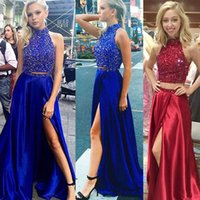 Wholesale Sexy Crosses Jumpsuits - 2017 sexy models selling blue two sets of elastic side vent Ding Jumpsuit skirt cheap shipping Prom Dresses back zipper