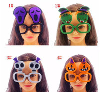 Wholesale Fancy Bedding - 2018 Halloween Style Glasses Cute Witch Pumpkin Skull Spectacle frame Party Decoration No Lens Glasses Fancy Supplies Party Props