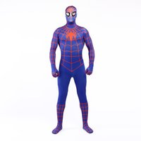 Wholesale super hero suit blue online – ideas Brand New Blue and Orange Lycra Spandex Full Body Jumpsuit Classic Superhero Spider man Cosplay Zentai Suit Costume For Halloween