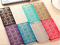 Wholesale Damask Red Black - For iPhone 5S 6 6S plus Vintage Damask Mandala Datura Henna Wind Chime Flower case Hollow out design Matte Hard Plastic PC Translucent Case