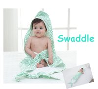Wholesale Zig Zag Baby Blanket - Baby Mermaid Blanket Muslin Swaddle Blanket 6 layers Cotton Gauze Bath Towel newborn robes 80*80cm Hooded towel