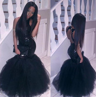 Wholesale Pageant Dresses Adults - Sparkly Black Girls Mermaid African Prom Dresses Long 2017 Halter Neck Sequins Tulle Sexy Corset Formal Dress Cheap Party Pageant Gowns