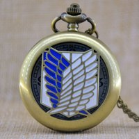 Wholesale Titan Watches Wholesale - Wholesale-Unisex Unique Design Bronze Attack on Titan Wings of Liberty Clamshell Quartz Pocket Watch Watch Gift Regarder P266