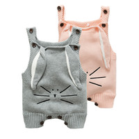 Wholesale Cute Rabbit Wearing Clothes - 2017Children's wear, Baby Cotton Knitted Rompers clothes INS Hot With Rabbit Cute Long Ears, baby straps