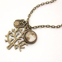 South American owl moon - 12pcs Full Moon Owl Tree Necklace in Antique bronze