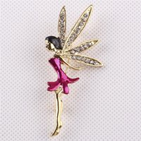 Wholesale Fairies Oil Paintings - Wholesale- 2 Colors For Choose Oil Painting Fairy Brooches For Women Rhinestone Wrings Brooch Pin Fine Jewelry Christmas Gift