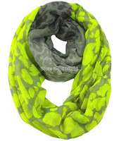 Wholesale Neon Scarfs - Wholesale-Neon Leopard Animal Print Infinity Loop Scarf Snood Women's Gift Winter Accessories, Free Shipping