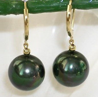 Venda Por Atacado 12mm Tahitian Preto Peacock Mar Shell Pearl Dangle Brincos 14KGP Fine Leverback