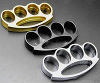 Wholesale pcs brass knuckle online - 2017The New F S THICK CHROMED KIRSITE BRASS Gold silver Protection KNUCKLES DUSTERS