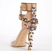 Wholesale Limited Sex Transpare Edition Perspex High Heels Sandals Luxury Quality Ankle Women Sandals Boots Peep Toe Rhinstone Lock Design Shoes Woman