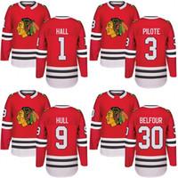 Wholesale Pierre Pilote - Customized Mens 2017-2018 Chicago Blackhawks 1 Glenn Hall 3 Pierre Pilote 9 Bobby Hull 30 ED Belfour Hockey Jerseys