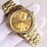 Wholesale Movement Free - 2017 classic 18 ct DAYDATE gold automatic mechanical movement gold dial sapphire mirror original clasp men's luxury sports watch free shippi