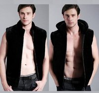 Wholesale Thermal Leather Vest - Black fashion Hooded warm faux fur coat vest mens leather jacket men vests coats slim winter thermal outerwear splice winter warm S - 4XL