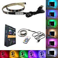 luces rgb decoracion al por mayor-Tira de luz LED impermeable de 5V 0.5m 100CM (3.28Ft) 2m 30leds Flexible 5050 RGB TV Retroiluminación Cable USB y mini controlador