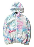 Wholesale Tie Dye Jacket Hoodie - New Men Map Tie-dye Ice Cream Sunscreen Sportwear Off the RIPNDIP Hip Hop Windbreaker Hoodies Jogger Sweatshirt Bird Y-3 YEEZUS jacket