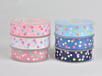 Wholesale Dot Ribbon Yard - Snow yarn with DIY decoration ribbons 25mm wide and 100 yards per roll Printing color with dots Very good quality free shipping WT059