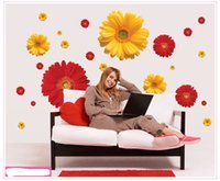 Wholesale Black Flowers Wall Stickers - Daisy Flower Living Room Vinyl 3D Wall Stickers Window Decor Bedroom Wall Decals Sticker To The Kitchen On The Door
