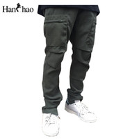 Wholesale Big Leg Pants - Wholesale- Pleated Straight Regular Mens Pants 2017 Spring New Fashion Side Leg Zipper Pants Men Big Pockets Man Trousers Full Length