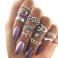 Wholesale star punk rings - 11 Pcs  Set Fashion Bohemian Women's Sun Moon Stars Leaves Flowers Rings Set Vintage Punk Knuckle Midi Finger Ring Jewelry Gift AA333