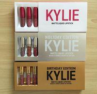 Wholesale Valentine Gold - Gold Silver Pink Kylie Jenner lipgloss Kit Kylie Cosmetics Matte Lipstick Birthday Limited Holiday Valentine Edition Lip gloss Set