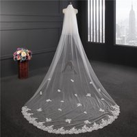 Wholesale Princess Cathedral Veil - 3 Meters Ivory White Princess Wedding Veils Cheap Long Lace Bridal Veils One Layer Lace Appliqued Edge Bride Veil Cheap In Stock CPA885