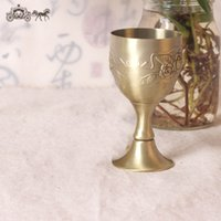 Wholesale Antique Cameo Glass - Retro Pokal Tridimensional Cameo Flower Design Copper Wine Goblet Smooth Mouth Bronze Shot Glass Cups Fashion 35my B