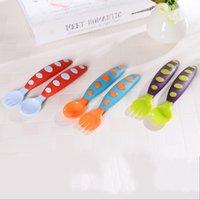 ingrosso set di cucchiaio per forchetta-Baby Train Fork And Spoon Tool Set di posate per bambini Set di utensili per bambini Utensili da tavola non tossici per l'insapore 3 1zz J R