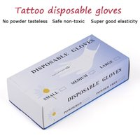 Wholesale Tattoo Box Glove - 50Pcs Box Han style semi-permanent materials tattoo lip embroidered eyebrow with a disposable glove rubber gloves