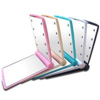 marco para led al por mayor-Espejo de maquillaje plegable Rectángulo de moda LED Ilumina Espejos Marco de plástico ABS Suministros de belleza Venta caliente 8 9xq B