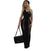 black eyelet dress - New Fashion Women Black Dress Sexy V Neckline Front Eyelets Lace up Maxi Dress Casual Ladies Sleeveless Nightout Wear Long Dress