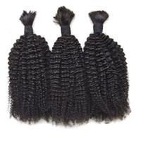виргинские перуанские человеческие волосы кудрявые оптовых-Человеческие волосы навалом для плетения волос 3шт. Лот Перуанская черная афро кудрявая кудрявая верхняя часть Навальные волосы высокого качества G-EASY