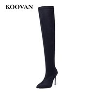 Wholesale korean high heels boot - Fashion Boots Over Knee Boots 10 Cm High Heel Shoes Stretch Fabric Perform Shoes 2017 Koovan Women Korean Flock Leather W569
