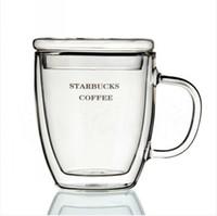 çift katmanlı cam kupa toptan satış-1 adet yüksek kalite isıya dayanıklı bira cam bardak çift katmanlı cam kahve fincanı kapaklı 350 ml sıcak satış j1002