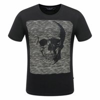 Wholesale Skull Pattern Top - 2017 new style Tide brand men's Hot drilling and printing Designer Man T-shirts Stretch cotton top quality p8185 Skull Pattern