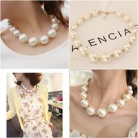 Wholesale Stylish Pearl Rings - Luxury Big Pearls Fashion Necklace Matching Glittering Rhinestones Gorgeous Bridal Neacklace Length 43+4 CM Stylish Accessories Free Shippin
