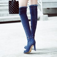 Wholesale Stretch Over Knee Boot - Arden Furtado blue denim boots over the knee thigh high summer boots for women high heels women shoes tassel jeans Cowboy stretch boots