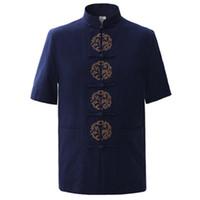 викторианский дракон оптовых-Wholesale- Summer Navy Blue Men's Cotton Embroidery Dragon Shirt tops Vintage Chinese  Short Sleeve Shirt Tang Suit Size M - XXXL