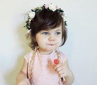 Wholesale Kids Headbands Made - Baby Headband Garlands Hand Made DIY Beach Flower Wedding Hairbands Kids Fashion princess Floral Hair Sticks Children Hair Accessories KGA02
