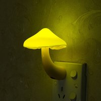 Cheap led mushroom nightlight - Novelty Led Electric Induction Small Yellow Mushroom Night Light Wall Lamp Nightlight US EU Plug Kids Birthday Gift ZA3376