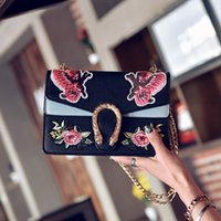 Wholesale Double Shoulder Leather - 2017 Fashion Brand Design Women pu Leather Embroidered Butterfly Bag Chain double layer Shoulder Bag Small Bag with Snake head