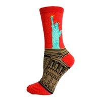 Wholesale Statue Printing - Wholesale- Hot Men and Women Sox Statue of Liberty Novelty Casual Art Short Sock MH17
