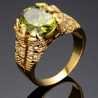 Dimensione 10 Peridot Zircon Anelli per uomo 10KT oro giallo Filled Fashion Jewelry Man Finger Ring alta
