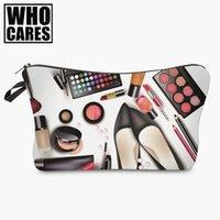 best black shoe bags wholesale - Black shoes 3D printing Cosmetic Bag women 2017 Fashion New makeup bag cosmetic cares trousse de maquillage neceser