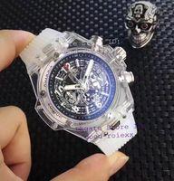Wholesale White Rubber Swiss Watch - Top AAA Men's Chronograph Quartz Watch Men Skeleton Dial Transparent Rubber Case Date VK Watches Mens Sports Chrono Dive Swiss Stopwatch